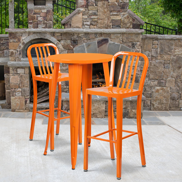 "Flash Furniture CH-51080BH-2-30VRT-OR-GG 24"" Round Orange Metal Indoor / Outdoor Bar Height Table with 2 Vertical Slat Back Stools Main Image 4"