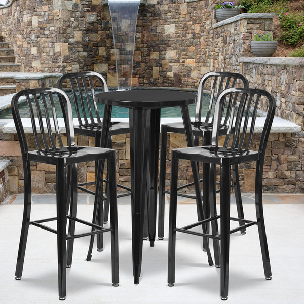 """Flash Furniture CH-51080BH-4-30VRT-BK-GG 24"""" Round Black Metal Indoor / Outdoor Bar Height Table with 4 Vertical Slat Back Stools Main Image 4"""