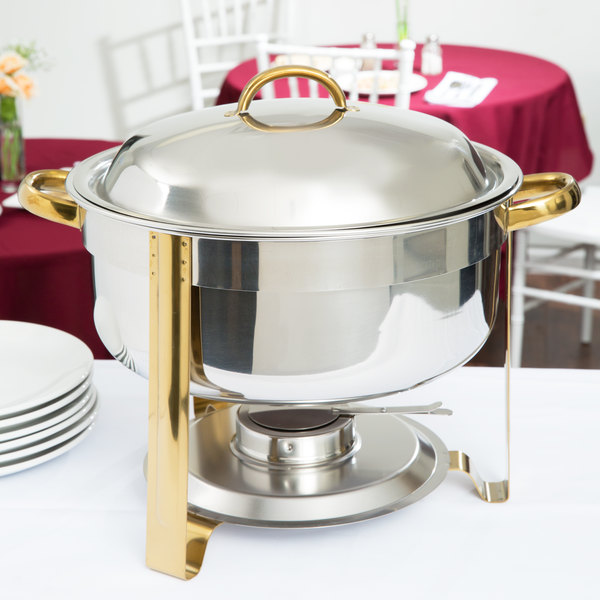 Choice 8 Qt. Deluxe Round Gold Accent Soup Chafer Main Image 3