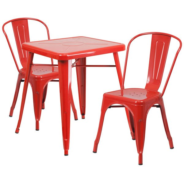 """Flash Furniture CH-31330-2-30-RED-GG 23 3/4"""" Square Red Metal Indoor / Outdoor Table with 2 Stack Chairs Main Image 1"""