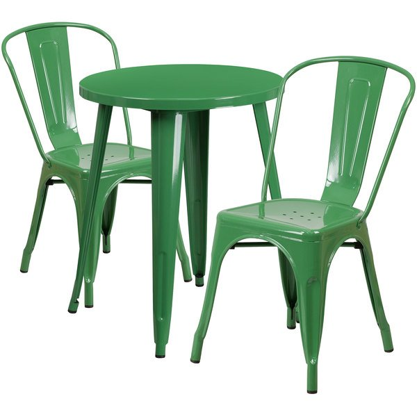 "Flash Furniture CH-51080TH-2-18CAFE-GN-GG 24"" Round Green Metal Indoor / Outdoor Table with 2 Cafe Chairs Main Image 1"