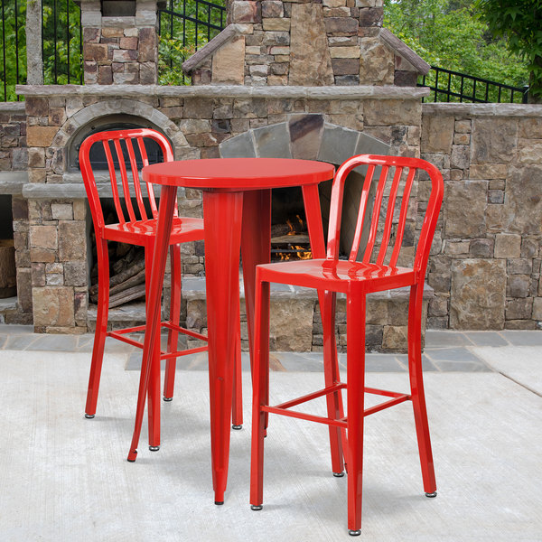 Sensational Flash Furniture Ch 51080Bh 2 30Vrt Red Gg 24 Round Red Metal Indoor Outdoor Bar Height Table With 2 Vertical Slat Back Stools Uwap Interior Chair Design Uwaporg