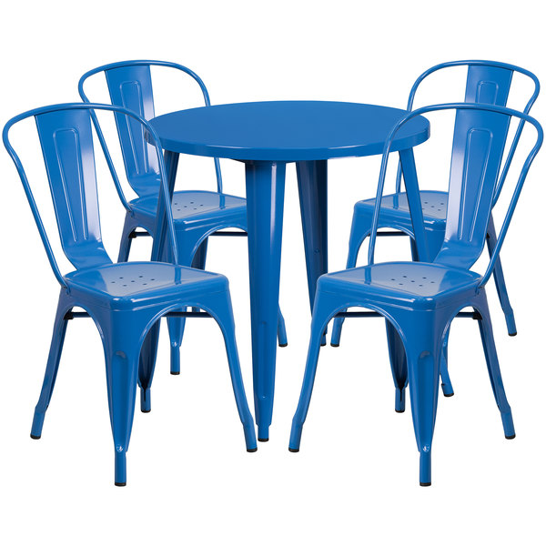 """Flash Furniture CH-51090TH-4-18CAFE-BL-GG 30"""" Round Blue Metal Indoor / Outdoor Table with 4 Cafe Chairs Main Image 1"""