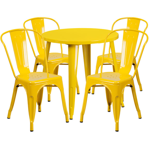 """Flash Furniture CH-51090TH-4-18CAFE-YL-GG 30"""" Round Yellow Metal Indoor / Outdoor Table with 4 Cafe Chairs Main Image 1"""