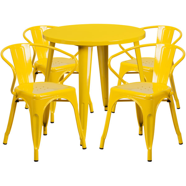 "Flash Furniture CH-51090TH-4-18ARM-YL-GG 30"" Round Yellow Metal Indoor / Outdoor Table with 4 Arm Chairs Main Image 1"