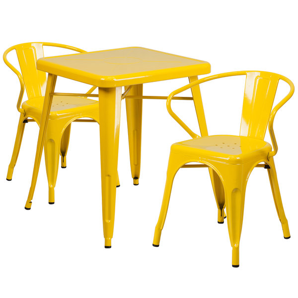 """Flash Furniture CH-31330-2-70-YL-GG 23 3/4"""" Square Yellow Metal Indoor / Outdoor Table with 2 Arm Chairs Main Image 1"""