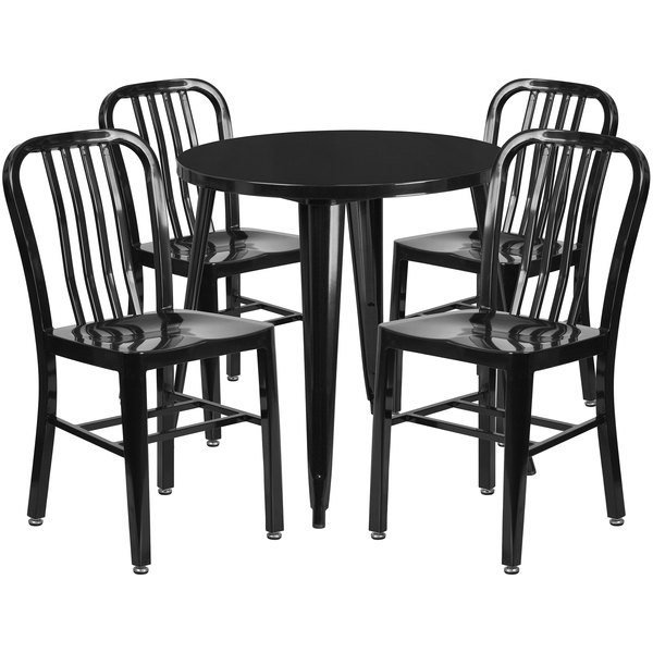 """Flash Furniture CH-51090TH-4-18VRT-BK-GG 30"""" Round Black Metal Indoor / Outdoor Table with 4 Vertical Slat Back Chairs Main Image 1"""