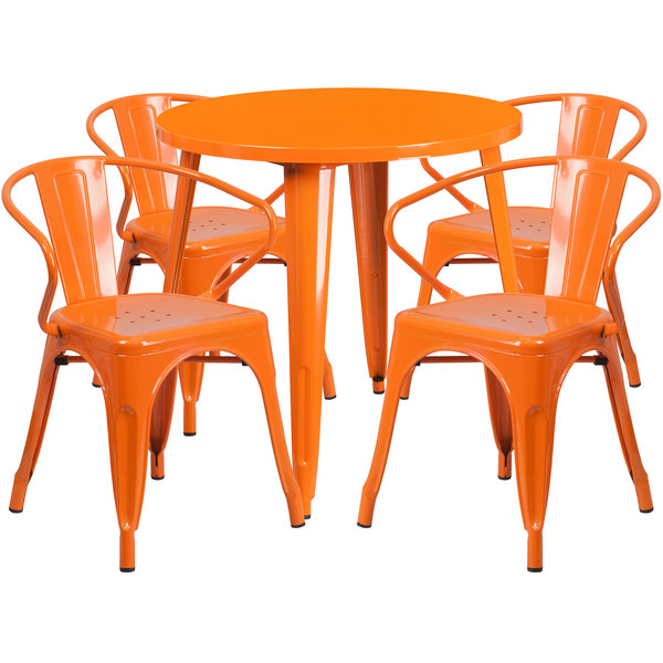 "Flash Furniture CH-51090TH-4-18ARM-OR-GG 30"" Round Orange Metal Indoor / Outdoor Table with 4 Arm Chairs Main Image 1"