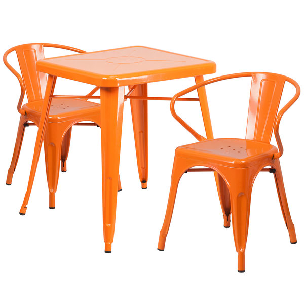 "Flash Furniture CH-31330-2-70-OR-GG 23 3/4"" Square Orange Metal Indoor / Outdoor Table with 2 Arm Chairs Main Image 1"