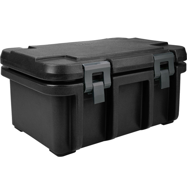 "Cambro UPC180110 Camcarrier Ultra Pan Carrier® Black Top Loading 8"" Deep Insulated Food Pan Carrier Main Image 1"