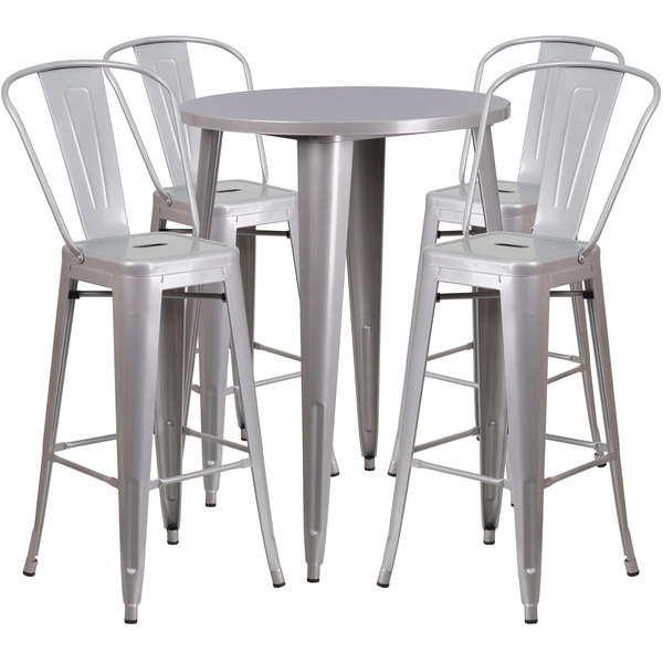 """Flash Furniture CH-51090BH-4-30CAFE-SIL-GG 30"""" Round Silver Metal Indoor / Outdoor Bar Height Table with 4 Cafe Stools Main Image 1"""
