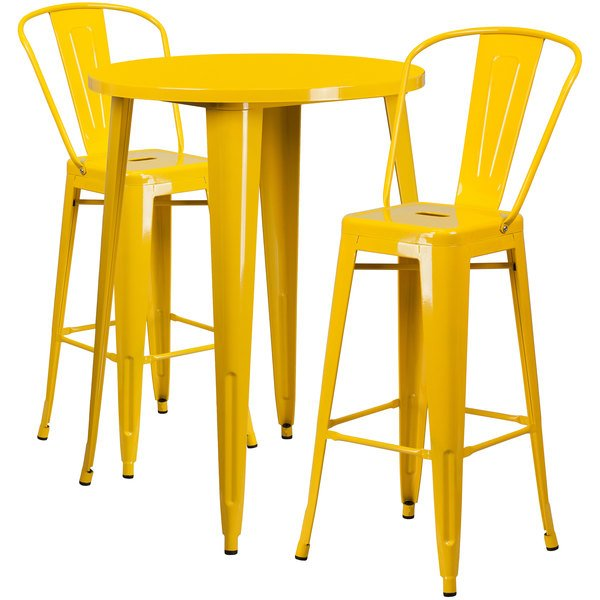 """Flash Furniture CH-51090BH-2-30CAFE-YL-GG 30"""" Round Yellow Metal Indoor / Outdoor Bar Height Table with 2 Cafe Stools Main Image 1"""
