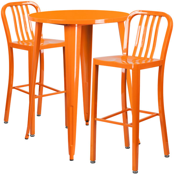 """Flash Furniture CH-51090BH-2-30VRT-OR-GG 30"""" Round Orange Metal Indoor / Outdoor Bar Height Table with 2 Vertical Slat Back Stools Main Image 1"""