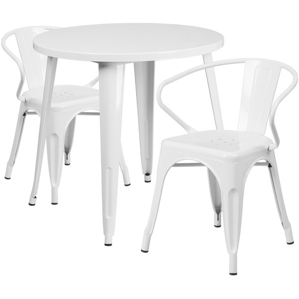 """Flash Furniture CH-51090TH-2-18ARM-WH-GG 30"""" Round White Metal Indoor / Outdoor Table with 2 Arm Chairs Main Image 1"""