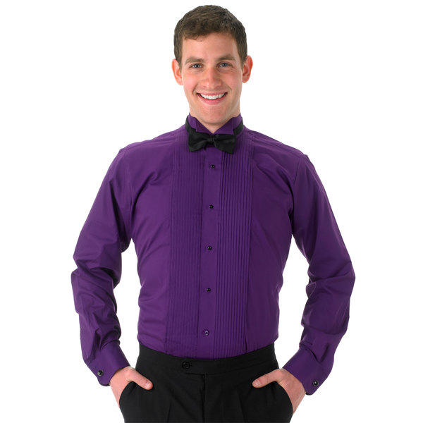 picked up classic style authentic Henry Segal Unisex Purple Tuxedo Shirt with Wing Tip Collar - Size M