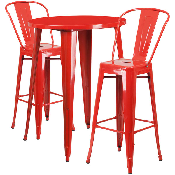 """Flash Furniture CH-51090BH-2-30CAFE-RED-GG 30"""" Round Red Metal Indoor / Outdoor Bar Height Table with 2 Cafe Stools Main Image 1"""