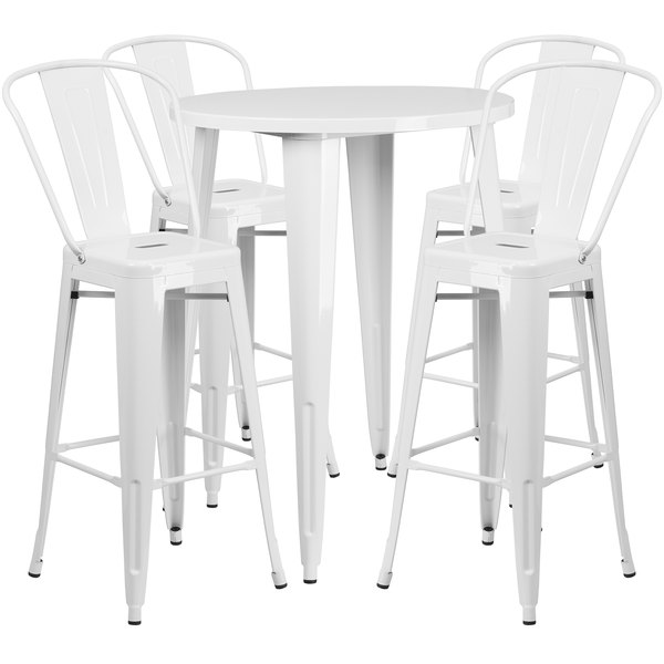 """Flash Furniture CH-51090BH-4-30CAFE-WH-GG 30"""" Round White Metal Indoor / Outdoor Bar Height Table with 4 Cafe Stools Main Image 1"""