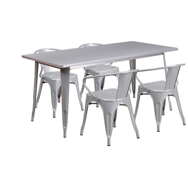 """Flash Furniture ET-CT005-4-70-SIL-GG 31 1/2"""" x 63"""" Rectangular Silver Metal Indoor / Outdoor Dining Height Table with 4 Arm Chairs Main Image 1"""