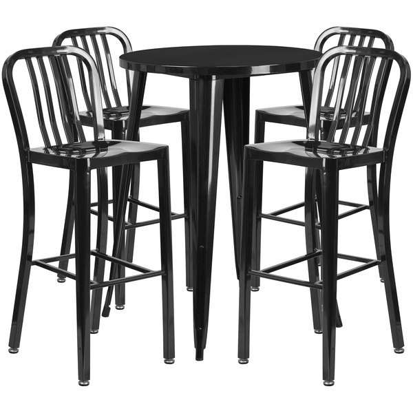 """Flash Furniture CH-51090BH-4-30VRT-BK-GG 30"""" Round Black Metal Indoor / Outdoor Bar Height Table with 4 Vertical Slat Back Stools Main Image 1"""