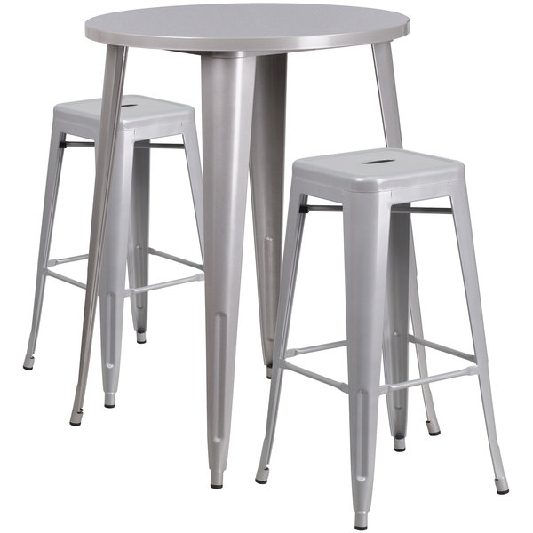 "Flash Furniture CH-51090BH-2-30SQST-SIL-GG 30"" Round Silver Metal Indoor / Outdoor Bar Height Table with 2 Square Seat Backless Stools Main Image 1"