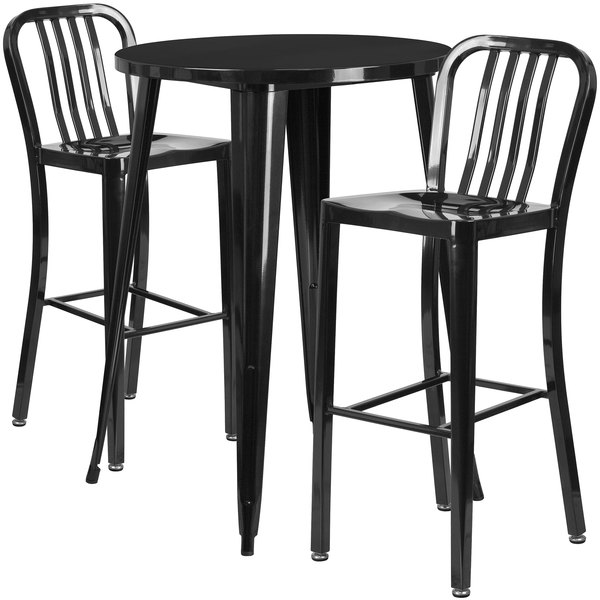 """Flash Furniture CH-51090BH-2-30VRT-BK-GG 30"""" Round Black Metal Indoor / Outdoor Bar Height Table with 2 Vertical Slat Back Stools Main Image 1"""