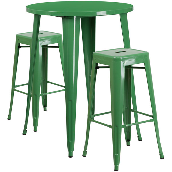"""Flash Furniture CH-51090BH-2-30SQST-GN-GG 30"""" Round Green Metal Indoor / Outdoor Bar Height Table with 2 Square Seat Backless Stools Main Image 1"""