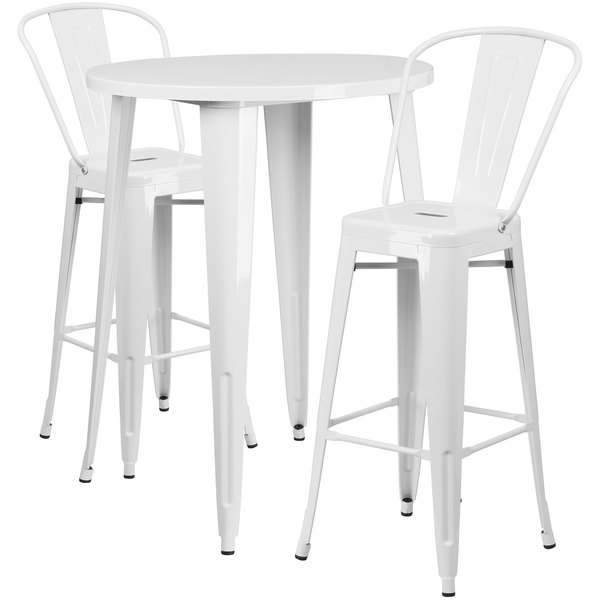 Swell Flash Furniture Ch 51090Bh 2 30Cafe Wh Gg 30 Round White Metal Indoor Outdoor Bar Height Table With 2 Cafe Stools Forskolin Free Trial Chair Design Images Forskolin Free Trialorg