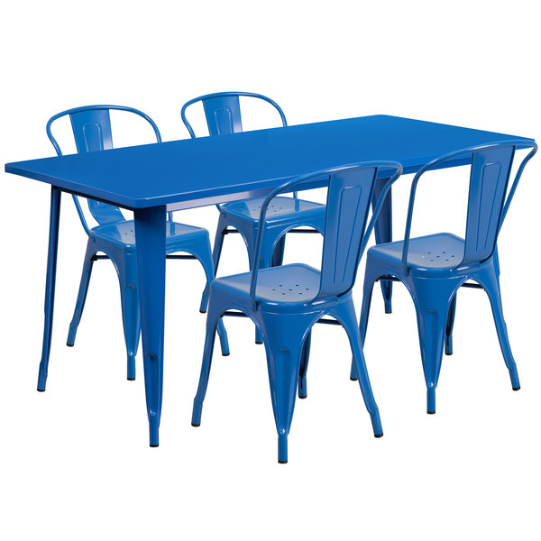 Pleasant Flash Furniture Et Ct005 4 30 Bl Gg 31 1 2 X 63 Rectangular Blue Metal Indoor Outdoor Dining Height Table With 4 Cafe Style Chairs Short Links Chair Design For Home Short Linksinfo