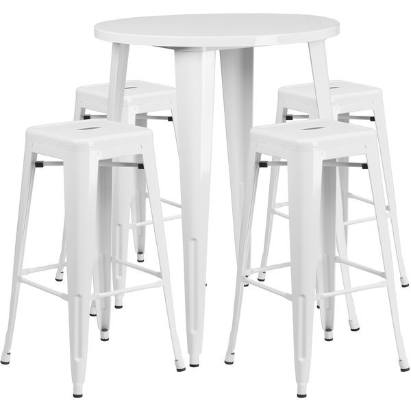 "Flash Furniture CH-51090BH-4-30SQST-WH-GG 30"" Round White Metal Indoor / Outdoor Bar Height Table with 4 Square Seat Backless Stools Main Image 1"