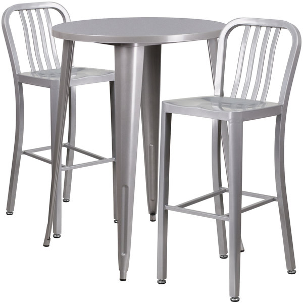 """Flash Furniture CH-51090BH-2-30VRT-SIL-GG 30"""" Round Silver Metal Indoor / Outdoor Bar Height Table with 2 Vertical Slat Back Stools Main Image 1"""