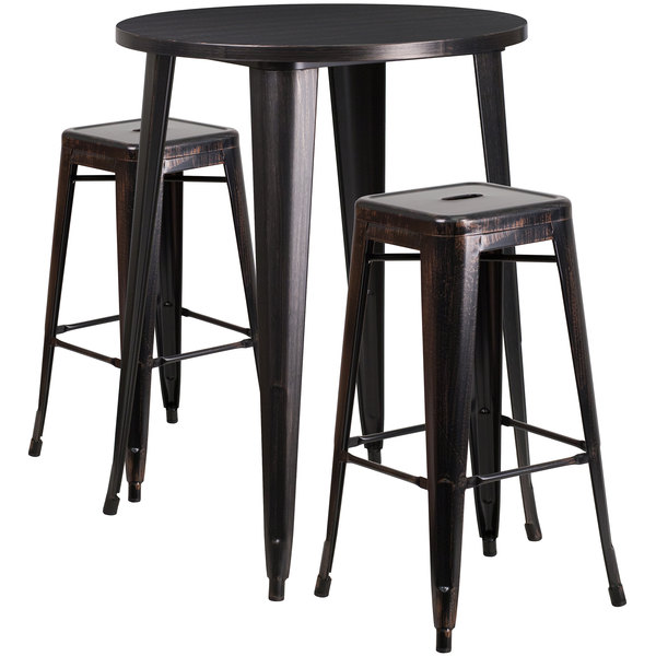 """Flash Furniture CH-51090BH-2-30SQST-BQ-GG 30"""" Round Black-Antique Gold Metal Indoor / Outdoor Bar Height Table with 2 Square Seat Backless Stools Main Image 1"""