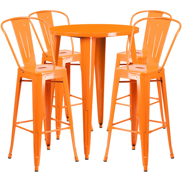 "Flash Furniture CH-51090BH-4-30CAFE-OR-GG 30"" Round Orange Metal Indoor / Outdoor Bar Height Table with 4 Cafe Stools Main Image 1"