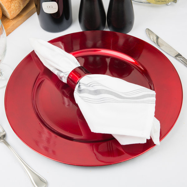 "Tabletop Classics by Walco TR-6620 13"" Red Metallic Round Polypropylene Charger Plate"