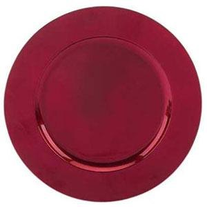 Tabletop Classics TR-6620 13 inch Red Metallic Round Acrylic Charger Plate