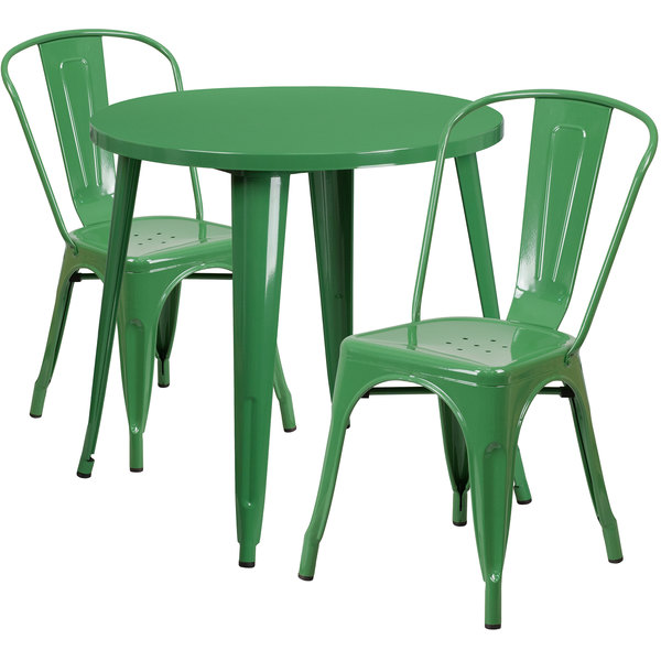 "Flash Furniture CH-51090TH-2-18CAFE-GN-GG 30"" Round Green Metal Indoor / Outdoor Table with 2 Cafe Chairs Main Image 1"