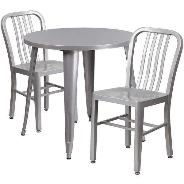 """Flash Furniture CH-51090TH-2-18VRT-SIL-GG 30"""" Round Silver Metal Indoor / Outdoor Table with 2 Vertical Slat Back Chairs Main Image 1"""