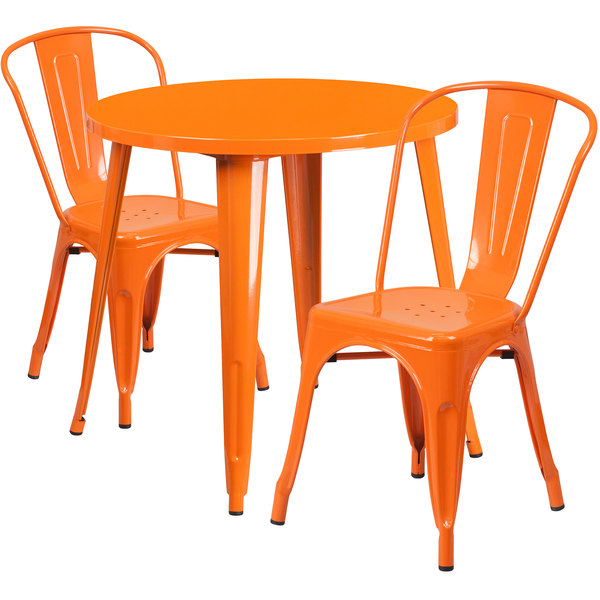 """Flash Furniture CH-51090TH-2-18CAFE-OR-GG 30"""" Round Orange Metal Indoor / Outdoor Table with 2 Cafe Chairs Main Image 1"""