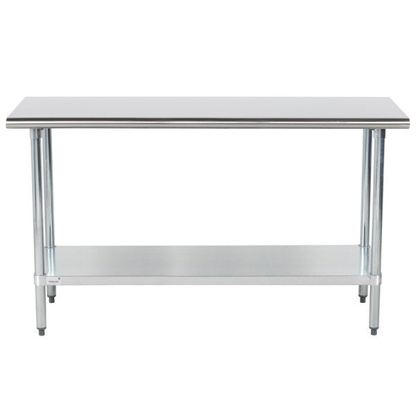 """Advance Tabco GLG-305 30"""" x 60"""" 14 Gauge Stainless Steel Work Table with Galvanized Undershelf"""