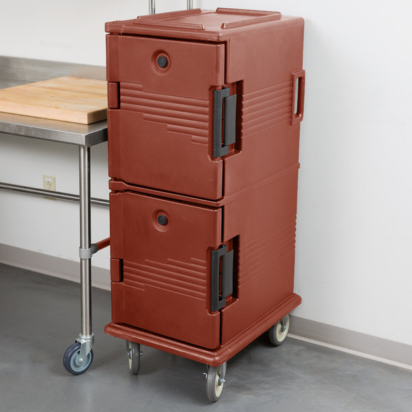 Cambro UPC800402 Ultra Camcarts® Brick Red Insulated Food Pan Carrier - Holds 12 Pans Main Image 5