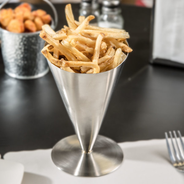 """Tablecraft R57 7"""" Brushed Stainless Steel Footed French Fry Cone"""