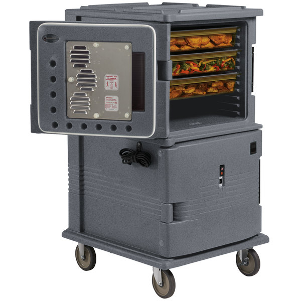 Cambro UPCH1600191 Granite Gray Ultra Camcart Two Compartment Heated Holding Pan Carrier with Casters, Both Compartments Heated - 110V