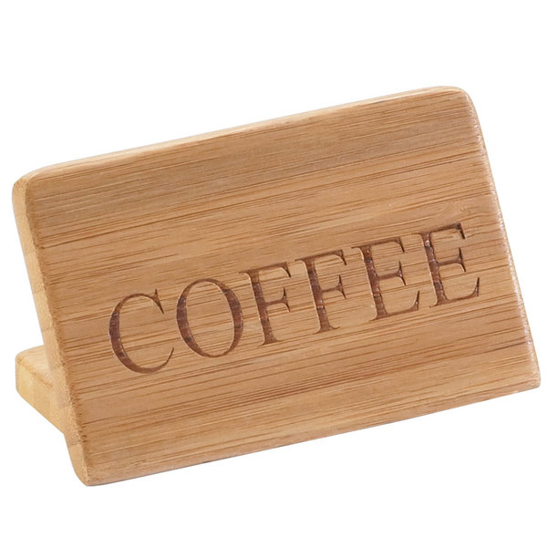 """Cal-Mil 606-1 3"""" x 2"""" Bamboo """"Coffee"""" Beverage Sign Main Image 1"""
