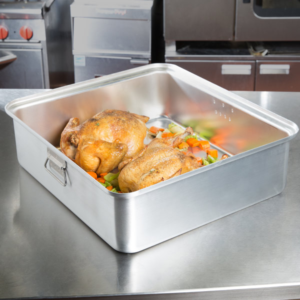 "Vollrath 68365 Wear-Ever 42.5 Qt. Aluminum Roast Pan with Handles (Bottom) - 22 1/8"" x 20 1/8"" x 6 9/16"""