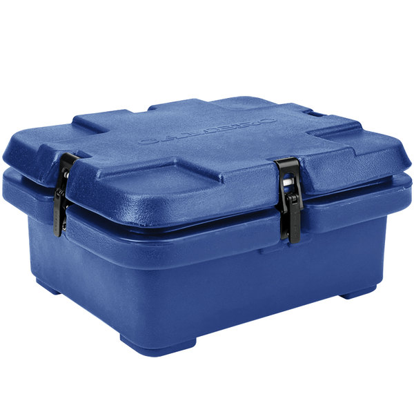 "Cambro 240MPC186 Camcarrier 4"" Deep Navy Blue Top Loading Inuslated Food Pan Carrier"