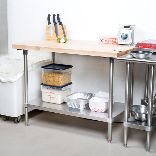 Advance Tabco H2S-304 Wood Top Work Table with Stainless Steel Base and  Undershelf - 30\