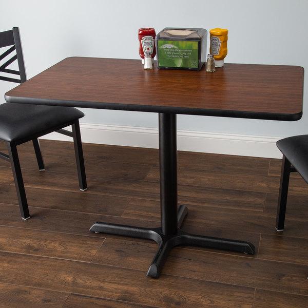 "Lancaster Table & Seating 24"" x 42"" Laminated Rectangular Table Top Reversible Walnut / Oak Main Image 4"