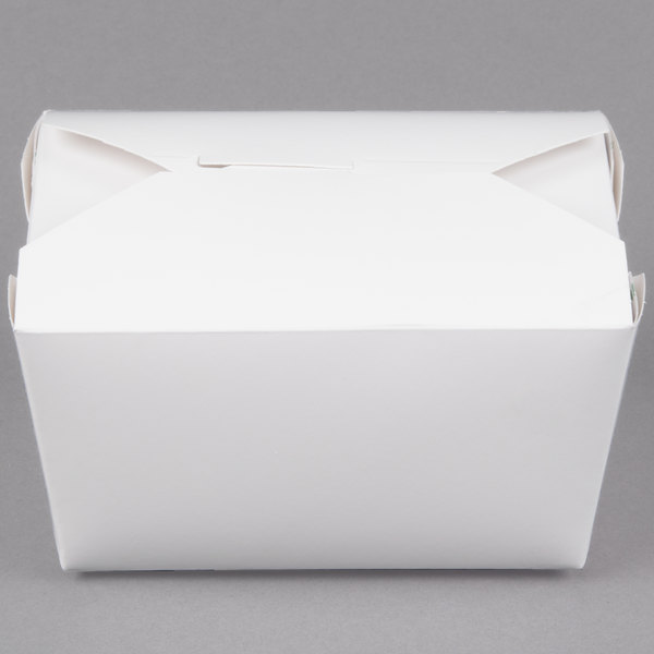 Bio-Pak 01BPWHITEM 5 inch x 4 inch x 3 inch White Paper #1 Microwavable Take-Out Container - 450/Case