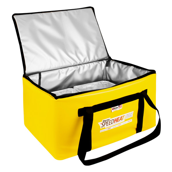 "Sterno 72038 SpeedHeat™ Yellow Leak-Proof Insulated Food Pan Carrier / Catering Delivery Bag, 16"" x 24"" x 14""- Holds (6) Half Size Food Pans Main Image 1"