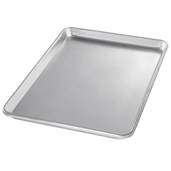 "Chicago Metallic 40950 Half Size 14 Gauge Aluminum Customizable Sheet Pan - Sanitary Open Bead/Semi-Curled Rim, 13"" x 18"""