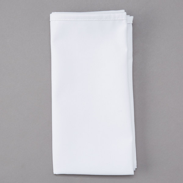20 inch x 20 inch White 100% Polyester Hemmed Cloth Napkin - 12/Pack